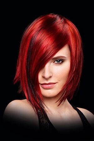 straight bob with amazing red hair colour, top hair colour salon Glasgow